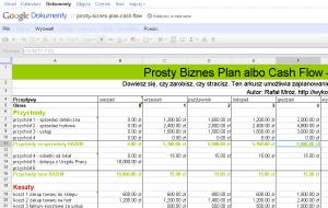Biznes plan lub cash flow w Excelu
