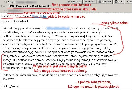 Błąd 2 - brak minimalnej personalizacji maila z ofertą sprawia, że odbiorca skanując maila nie znajduje w nim niczego na swój temat