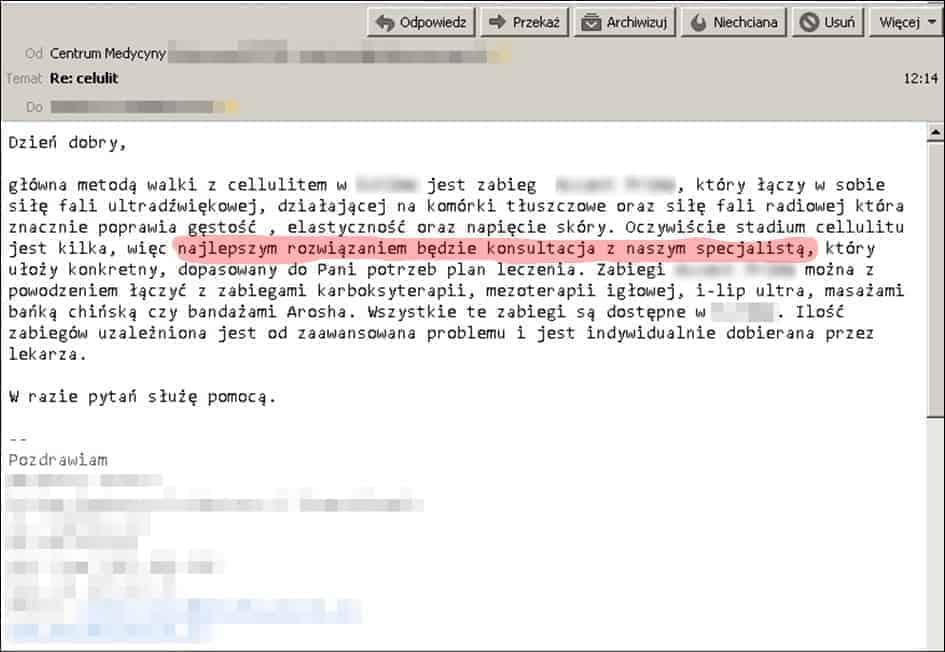 Email z recepcji: różne opcje do wyboru, branżowe słownictwo i nakłanianie do umówienia na wizytę.