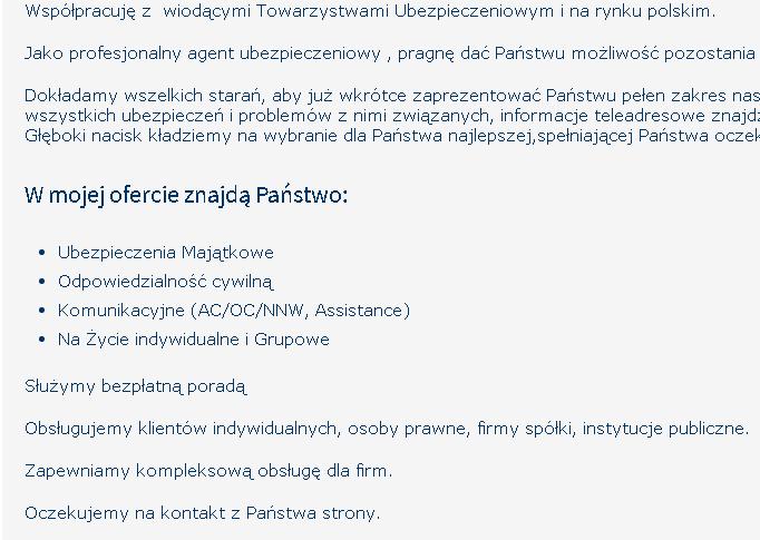 Fragment opisu ze strony agenta ubezpieczeniowego